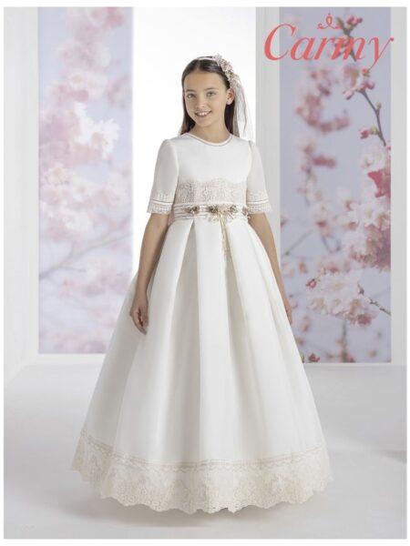vestido de comunión carmy de estilo clásico en corte de tablas modelo 1303
