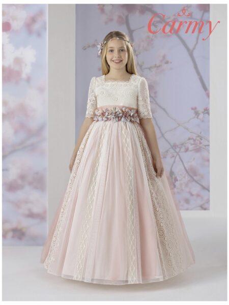 vestido de comunión romántico para niña modelo 1617 de la firma Carmy