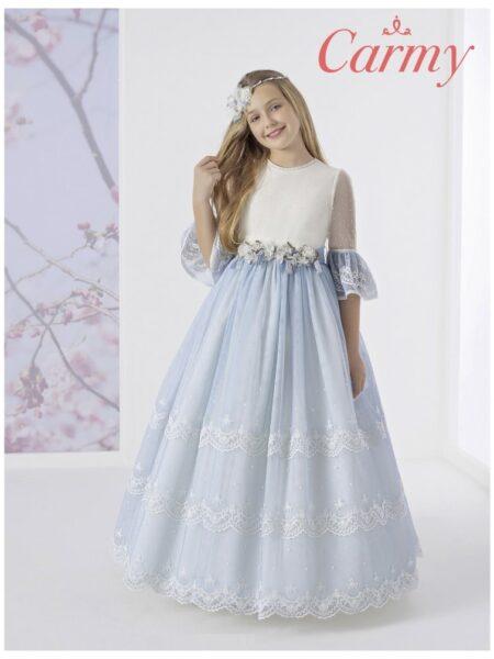 vestido de comunión corte fantasía en color azul y blanco modelo 1622 de Carmy