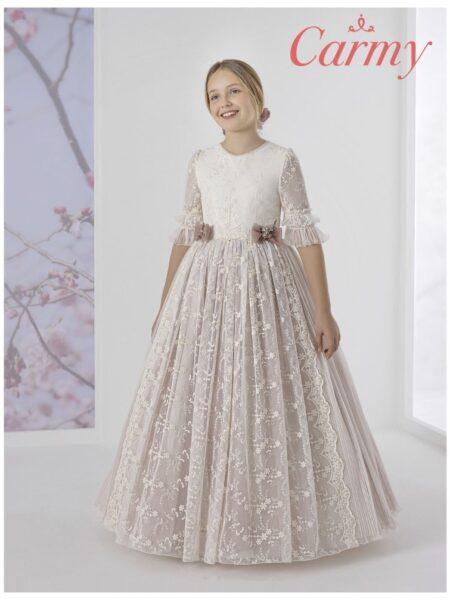 vestido de comunión de estilo romántico en diferentes tejidos y colores modelo 1624 de Carmy
