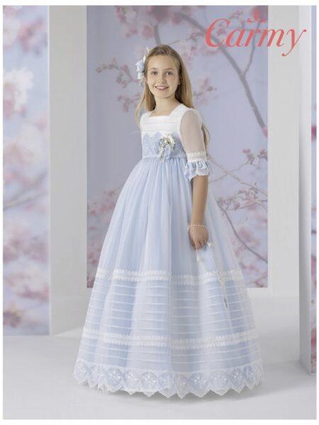vestido de comunión romántico corte imperio en color blanco y azul modelo 1631 Carmy