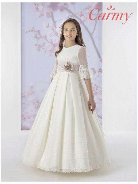 vestido comunión fantasía en corte clásico modelo 1639 de Carmy