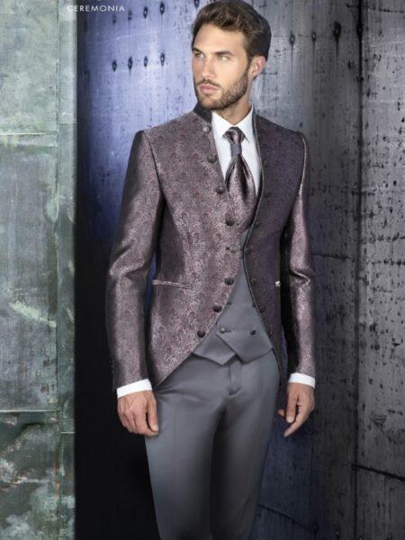 traje d enovio semilevita brocada en lila y plata modelo 85-2373 enzo romano