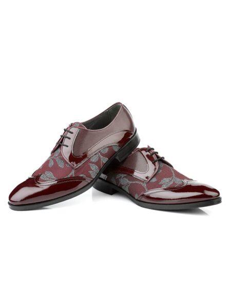 Zapato novio combinado en tejido y charol burdeos con puntera esmoquin modelo 6153 de Enzo romano