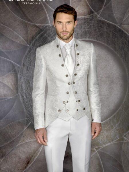 espectacular traje de novio blanco brocado modelo 85-2596 enzo romano
