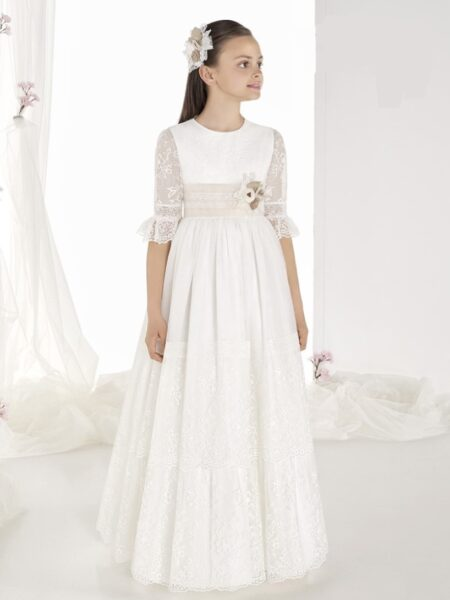 vestido comunión romántico tul modelo 9611 carmy en outlet