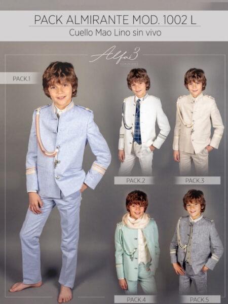 Traje comunión niño almirante en lino 100% modelo 1002L Alfa3