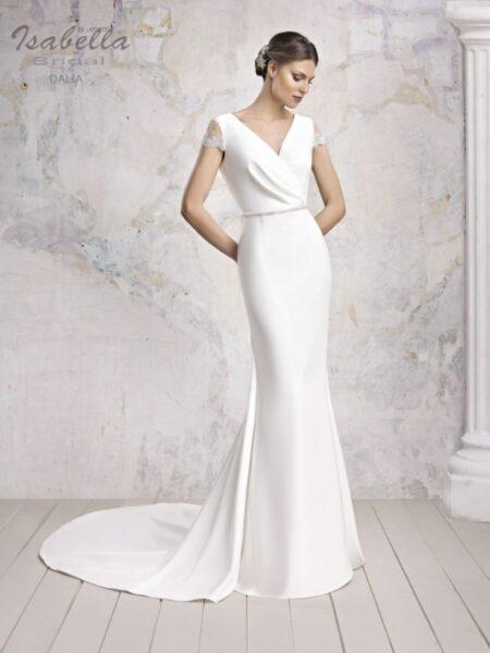 vestido de novia sirena modelo dalia con manga corta de la firma isabella bridal