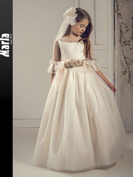 vestido comunión fantasía en outlet modelo J142 de Marla disponible en Moda Pureza