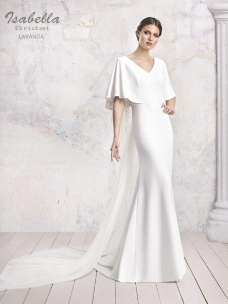 vestido de novia corte sirena con caída recta modelo lavanda firma isabella bridal