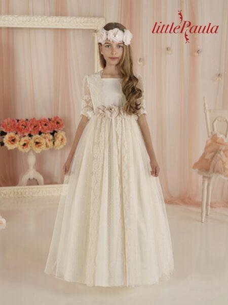 vestido comunión romántico outlet en Moda Pureza modelo LP68 Carmy