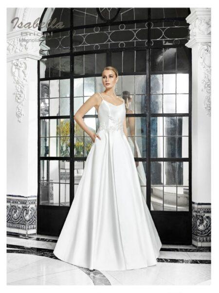 vestido de novia de estilo princesa en mikado de seda modelo magnolia