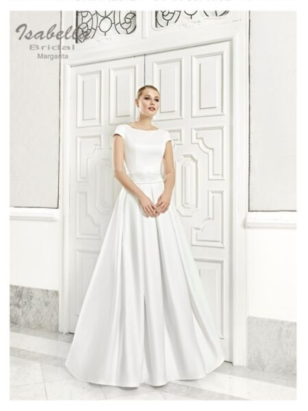 vestido de novia corte princesa de tablas modelo margarita de isabella bridal