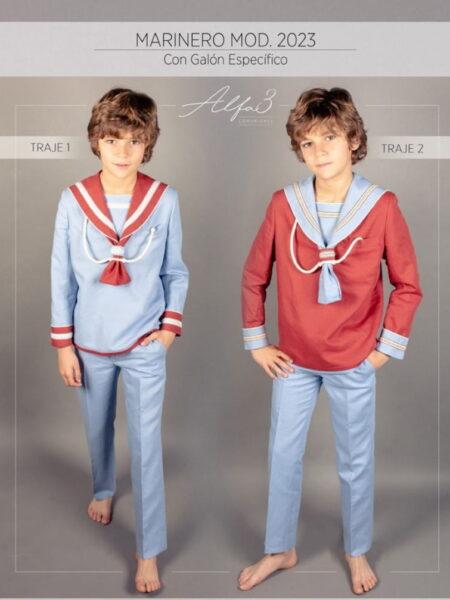 Traje comunión niño marinero celeste y rojo modelo 2023 Alfa3