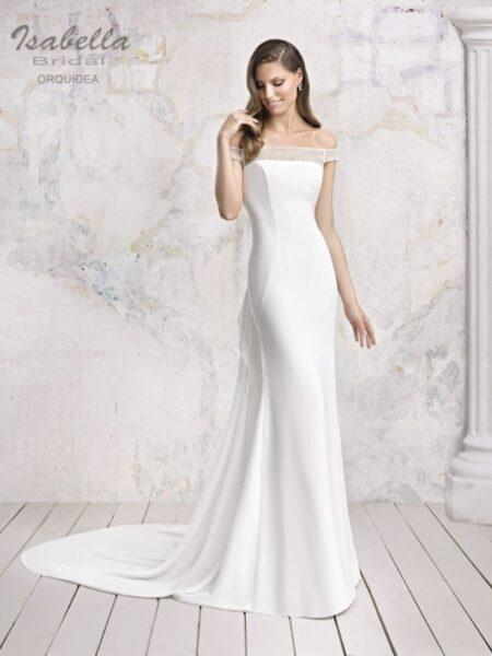 vestido d enovia en silueta sirena con escote envolvente modelo orquidea de isabella bridal
