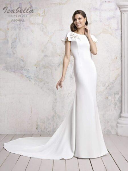 vestido de novia sencillo en corte sirena modelo peonias de isabella bridal