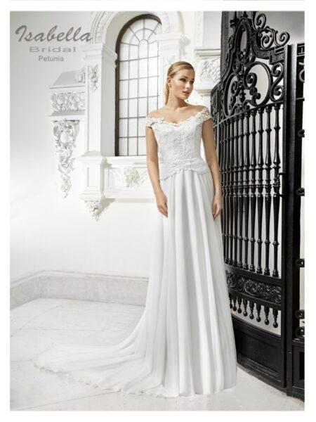 vestido de novia versatil en si estilo por poder ser corte imperio o linea A de la colección Isabella Bridal modelo petunia