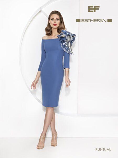 vestido de fiesta corto ideal madres de comunión o invitadas de boda allegadas modelo puntual de Esthefan colección 2021