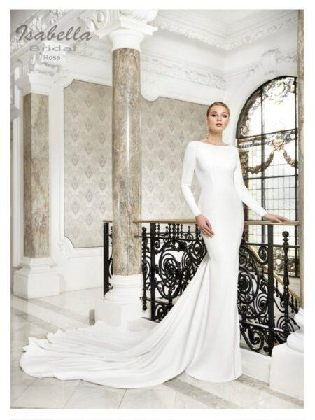 vestido de novia en corte sirena muy elegante y sencillo modelo rosa de la colección Isabella bridal