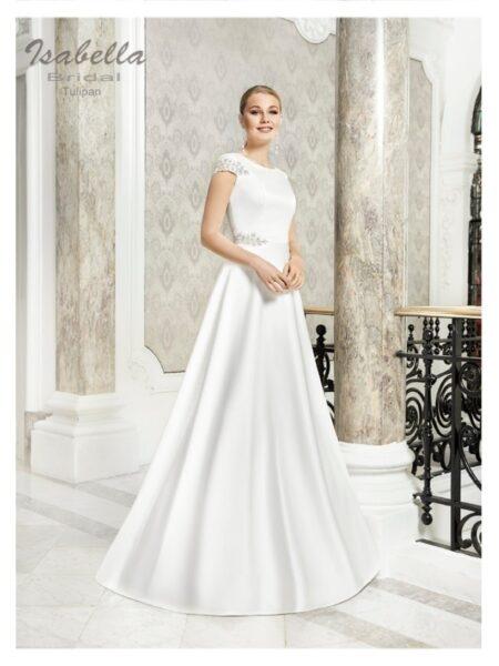 vestido de novia en Linea A modelo tulipan de isabella bridal