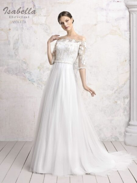 vestido de novia linea a modelo violeta de isabella bridal
