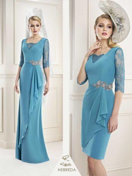precioso vestido de madrina para vestir con mantilla modelo nebreda firma Raffaello